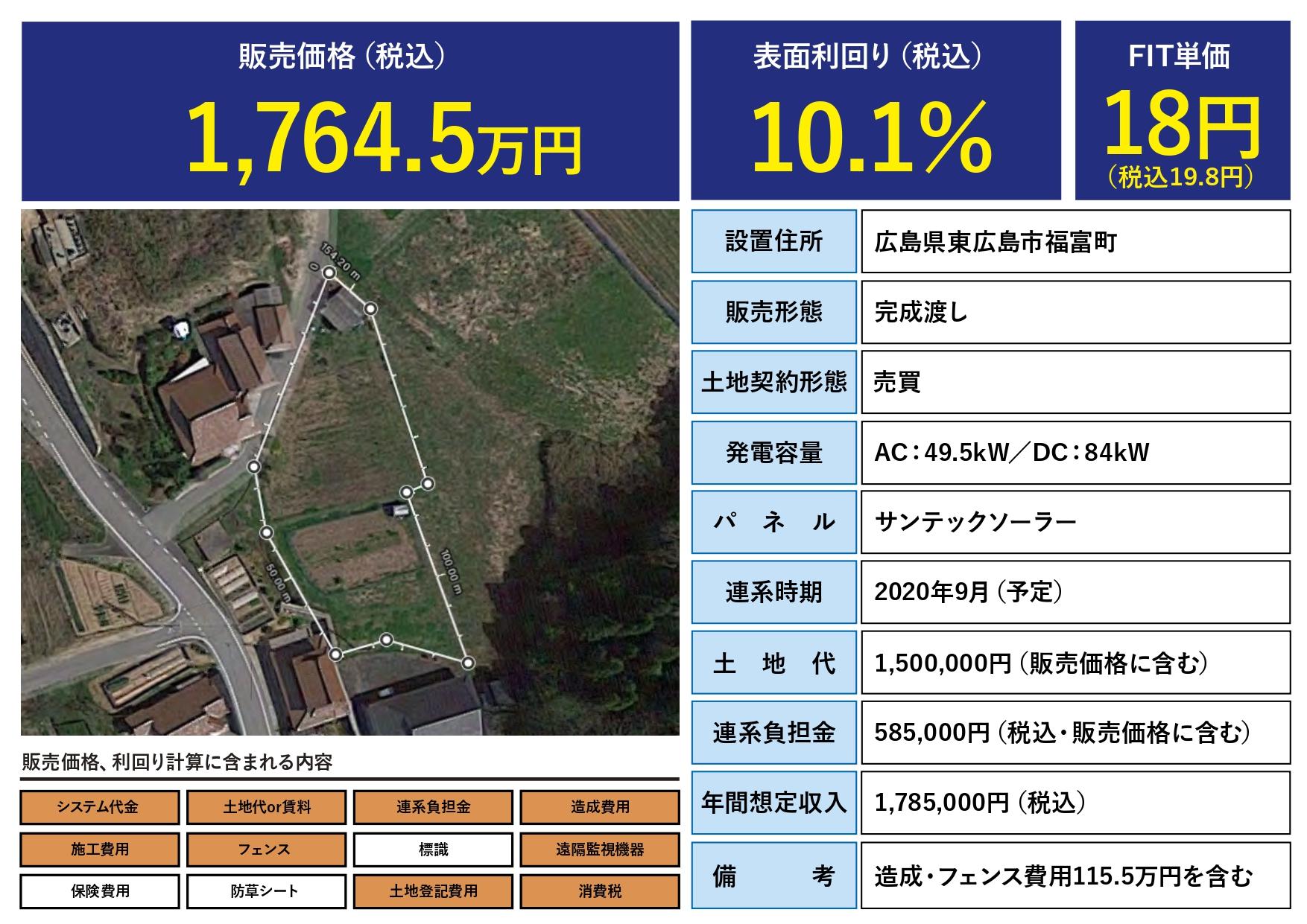 実質利回り7.48%!年間売電収入178万円!【広島県東広島市】